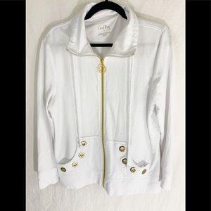 ❤️ 3/20 Coral Bay White Jacket Gold Zipper L